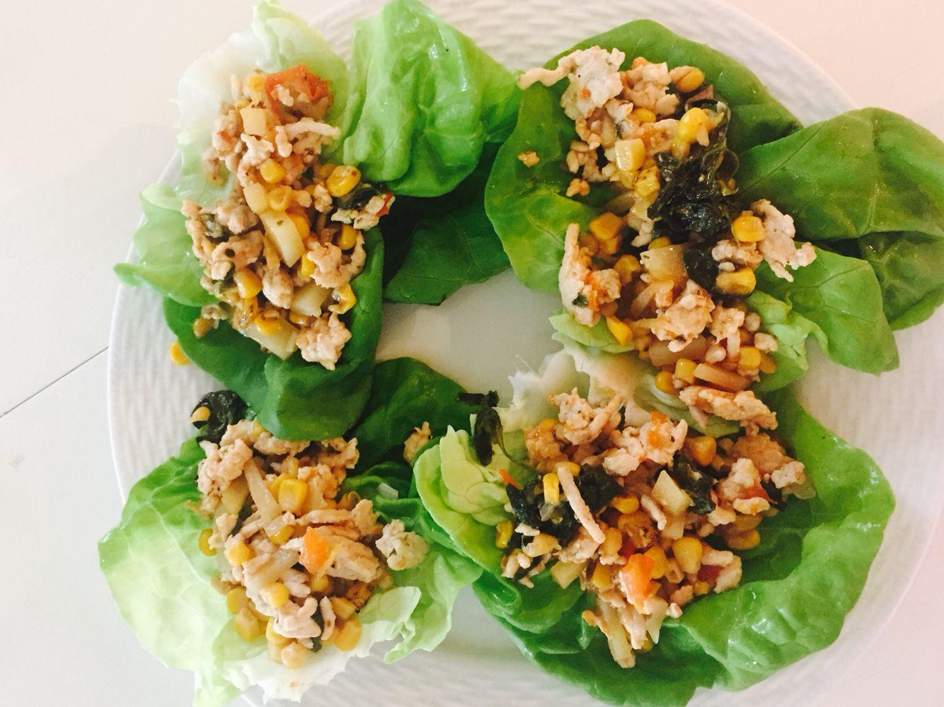 Turkey and corn lettuce wraps