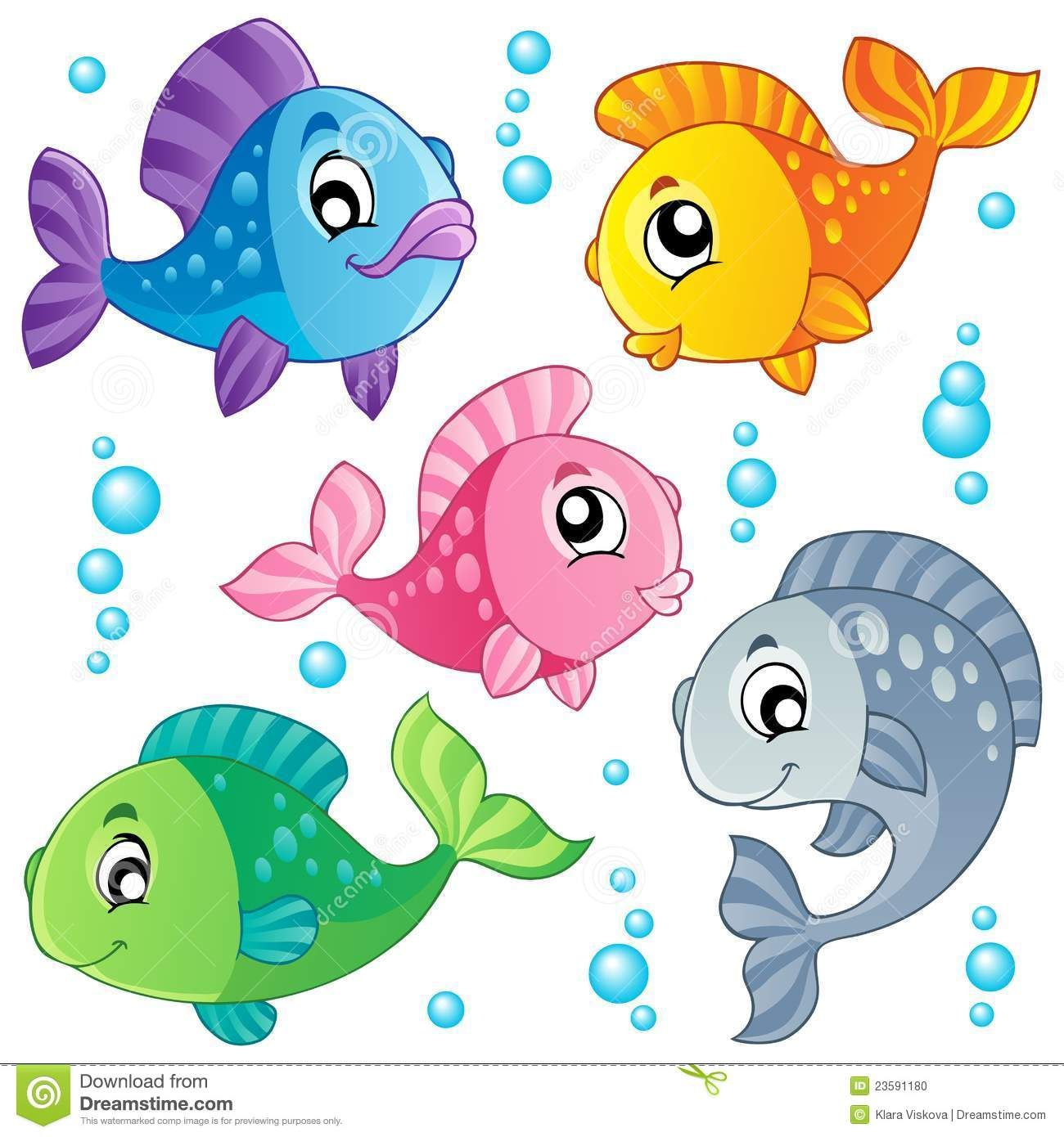 cute fish clip art various cute fishes collection 3 vector illustration  [ 1300 x 1390 Pixel ]