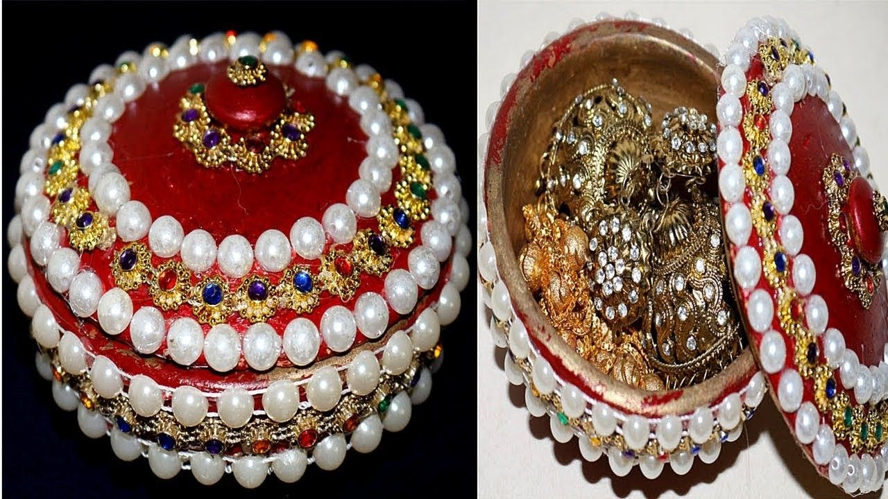 How to make jewellery box at home with waste material - Homemade ...