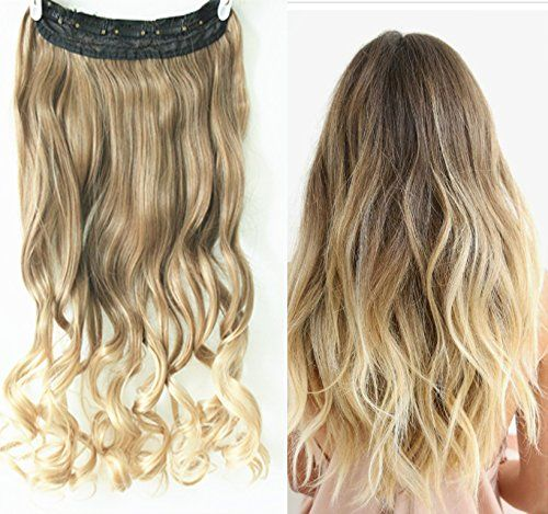 3 4 Full Head Clip In Hair Extensions Ombre One Piece 2 Tones Wavy