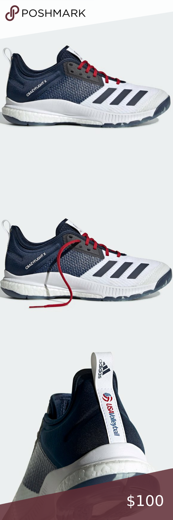 Adidas Crazyflight X 3 Usa Volleyball Shoes In 2020 Volleyball Shoes Shoe Show Shoes