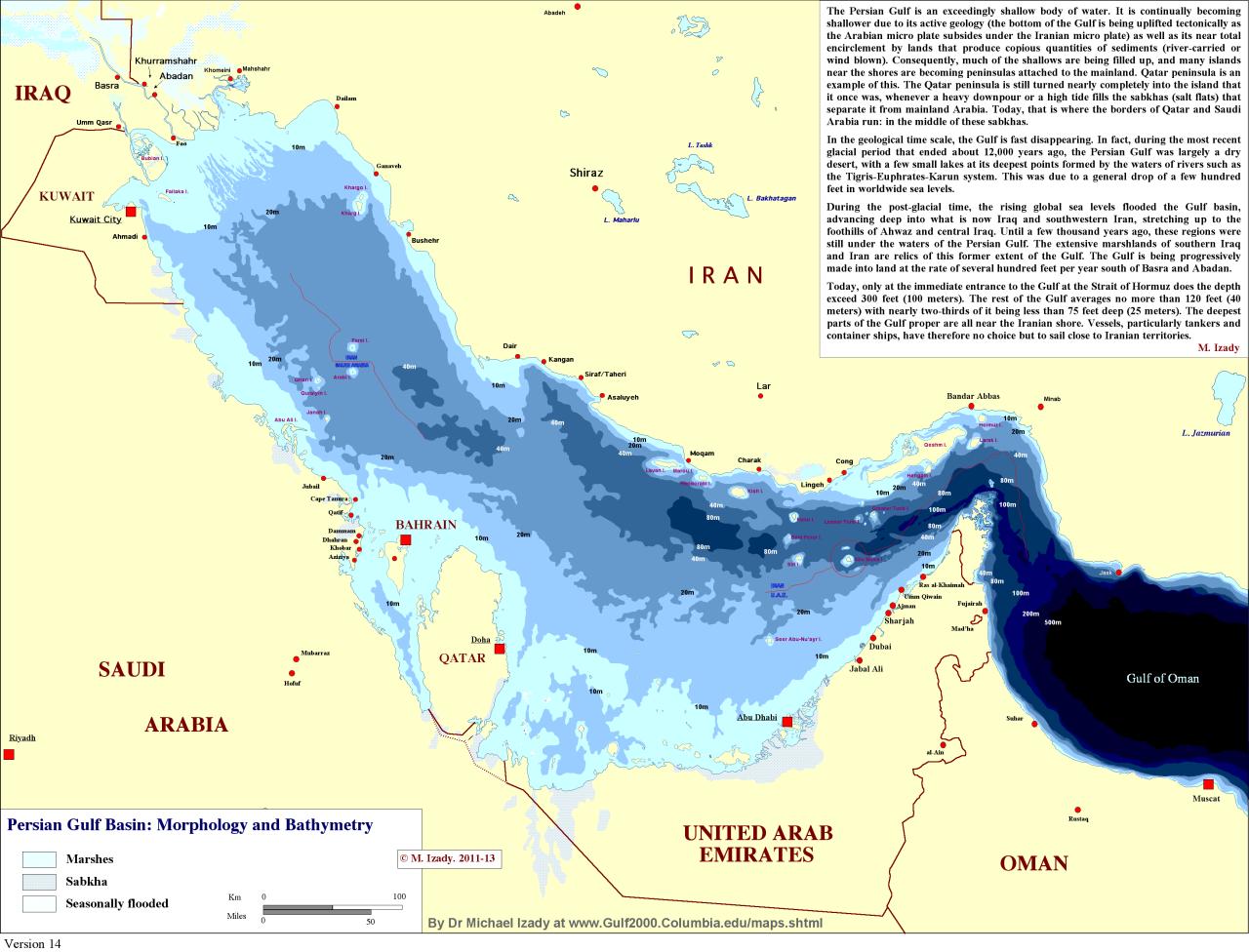 Persian Gulf Morphology and Bathymetry. | Maps & Charts & Map Info ...