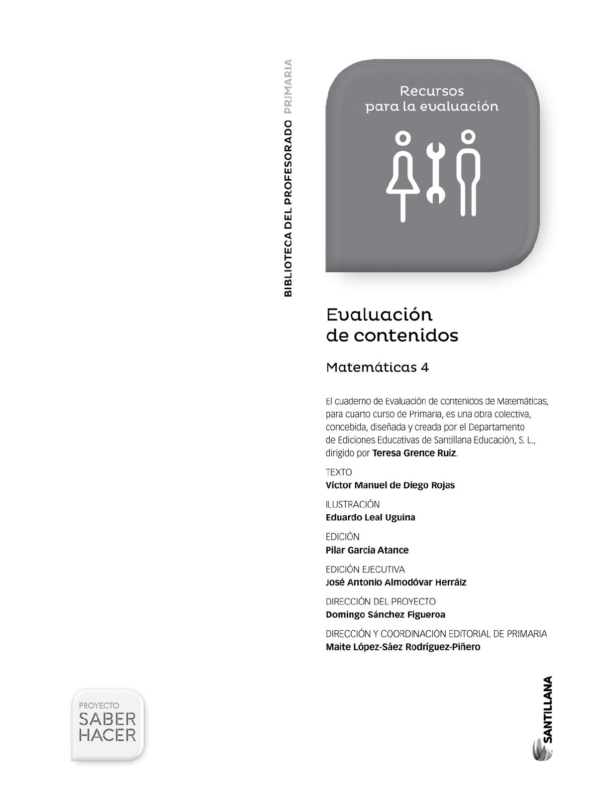 Matematicas 4º Primaria Santillana Saber Hacer - [PDF