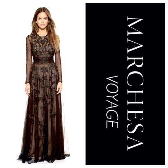 Marchesa Voyage Long Embroidered Dress NWT