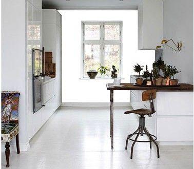 Cuisine Design Meubles Sol Blanc Peinture Gris Souris