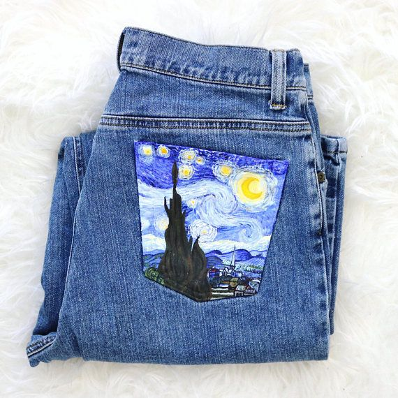 fb111e3634 Hand-painted jeans  The Starry Night by Vincent Van Gogh