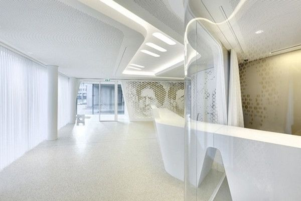 A view towards the contemporary bank 39 s office modern bank for Interior design zurich