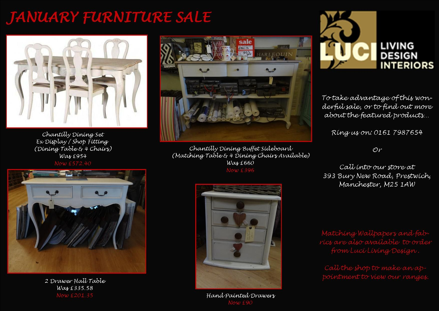 A range of white furniture items available in our January sale. Head over to the store to grab a bargain!