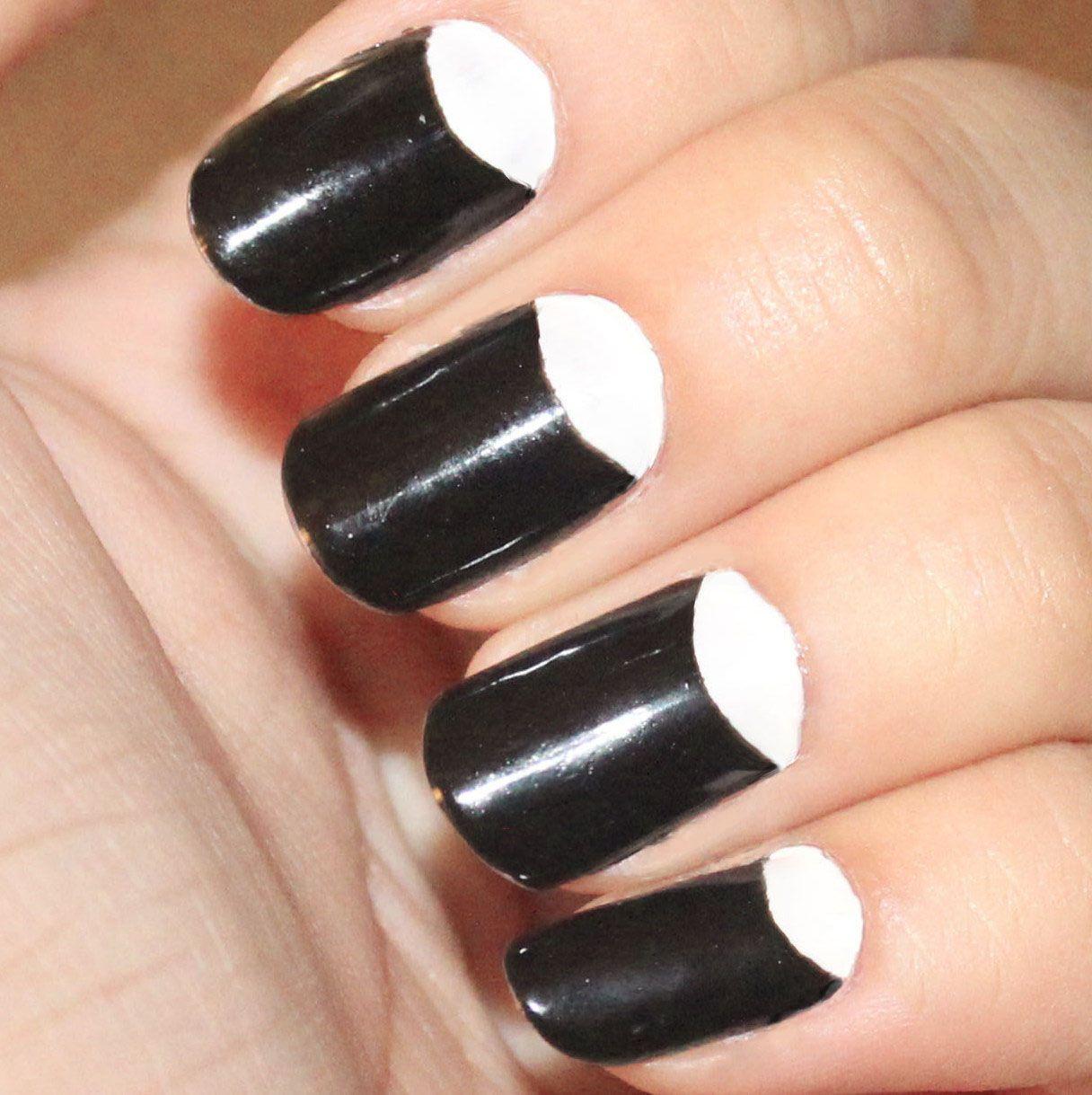 Pretty Half Moon Nail Designs 2015 Black-and-White-Half - Pretty Nails To Try: Half Moon Nail Designs Moon Nails