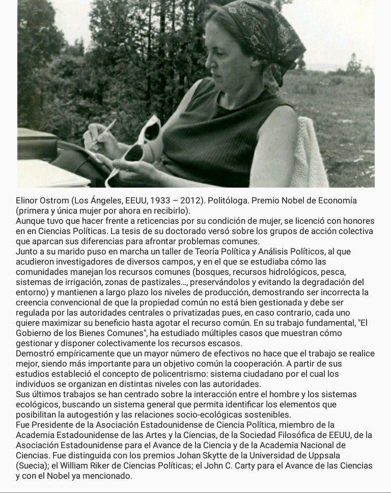 ELINOR OSTROM (Los Ángeles, EEUU, 1933 – 2012). Politóloga