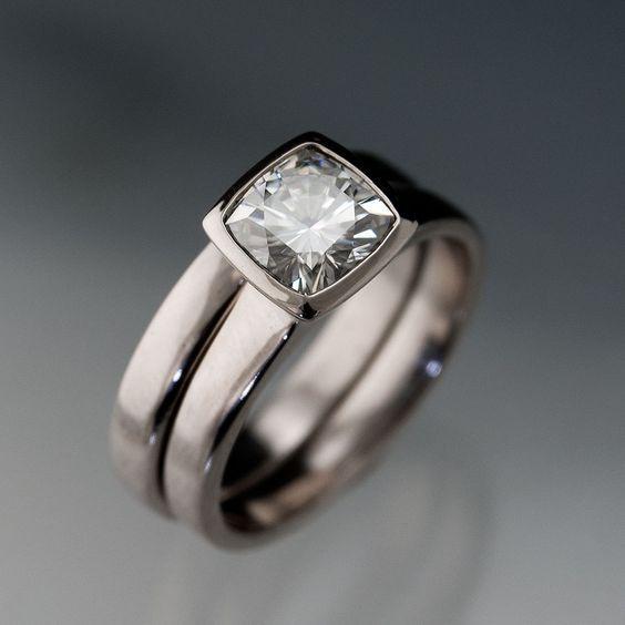 Wide Band Bezel Set Diamond Love Bezel Engagement Ring