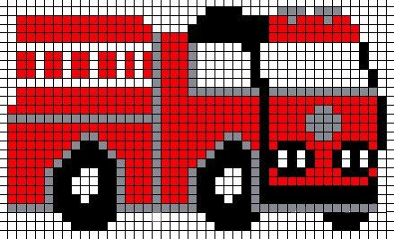 Fire Truck Perler Bead Pattern Beaded Cross Stitch