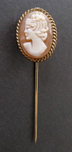 Antique Vintage Shell Cameo 12k Gf Gold Stickpin Hat Pin Old Victorian Era Ebay Hat Pins Shell Cameo Hats Vintage
