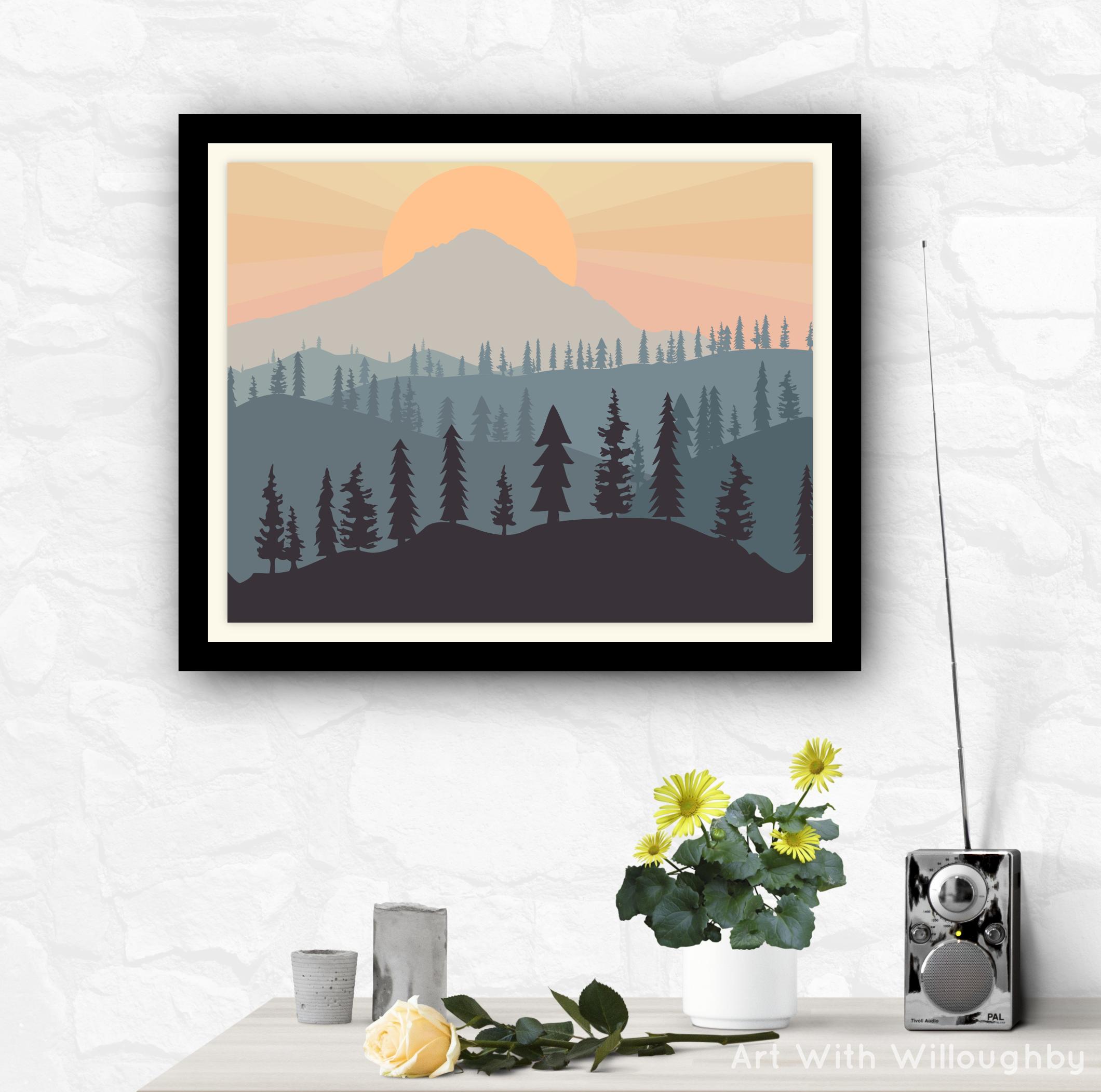Mt Hood National Forest Digital Illustration 300dpi Png Etsy Digital Art Prints Wall Art Prints Digital Illustration