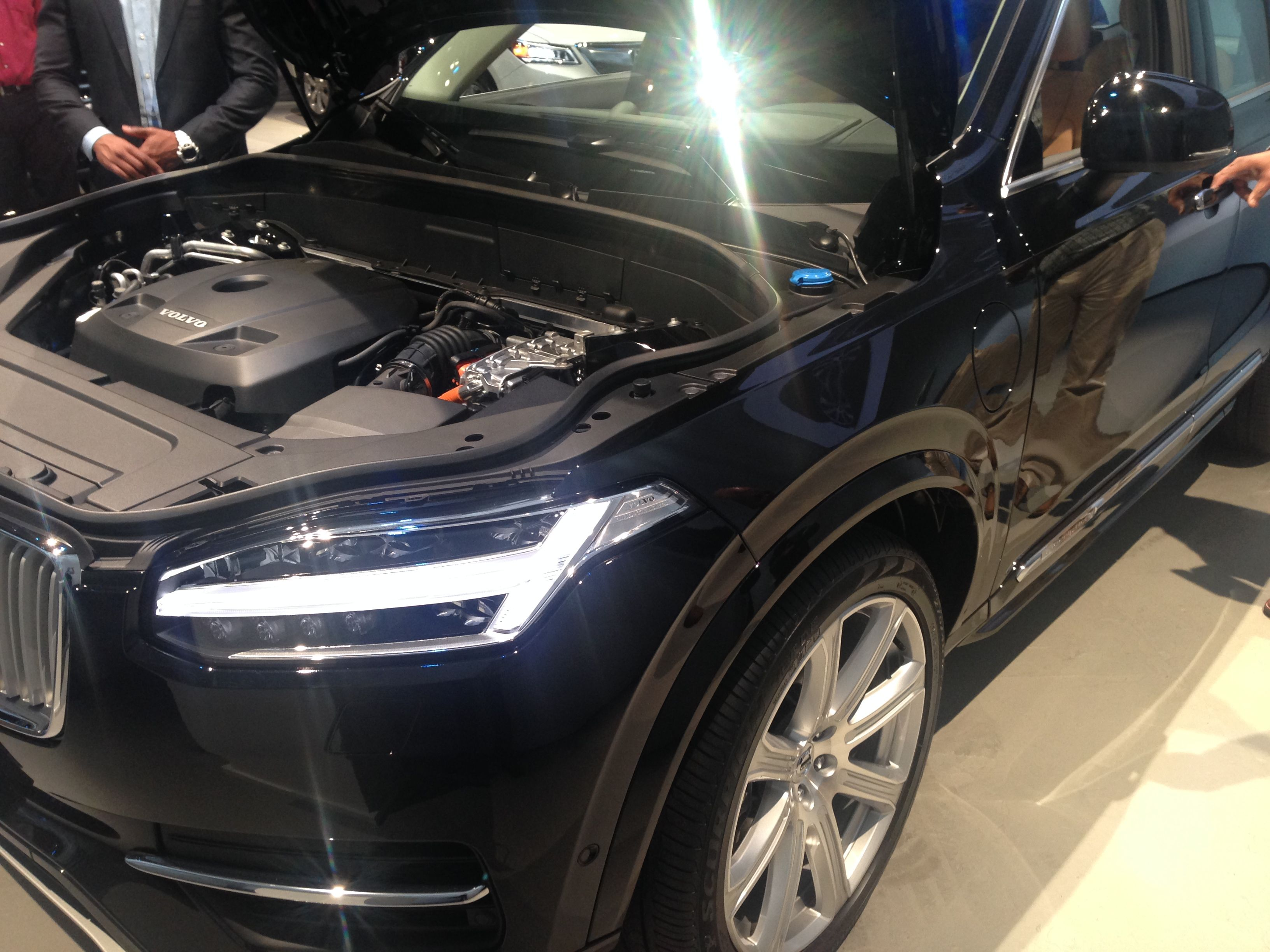 The front end, with the hood up, of the 2016 Volvo XC90