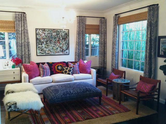 Boho Living Room. Loooove That Chevron Fabric On The