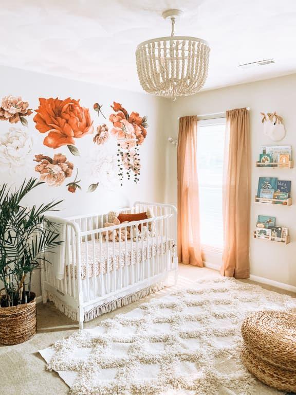 Antique Whitewash Wood Bead 4 Light Chandelier Baby Room Decor