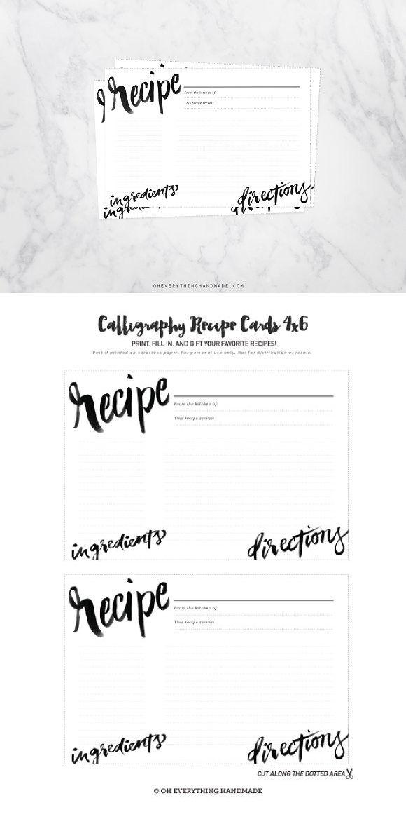 Calligraphy Recipe Card 4x6 Fill in   Pinterest   Recipe cards, Card ...