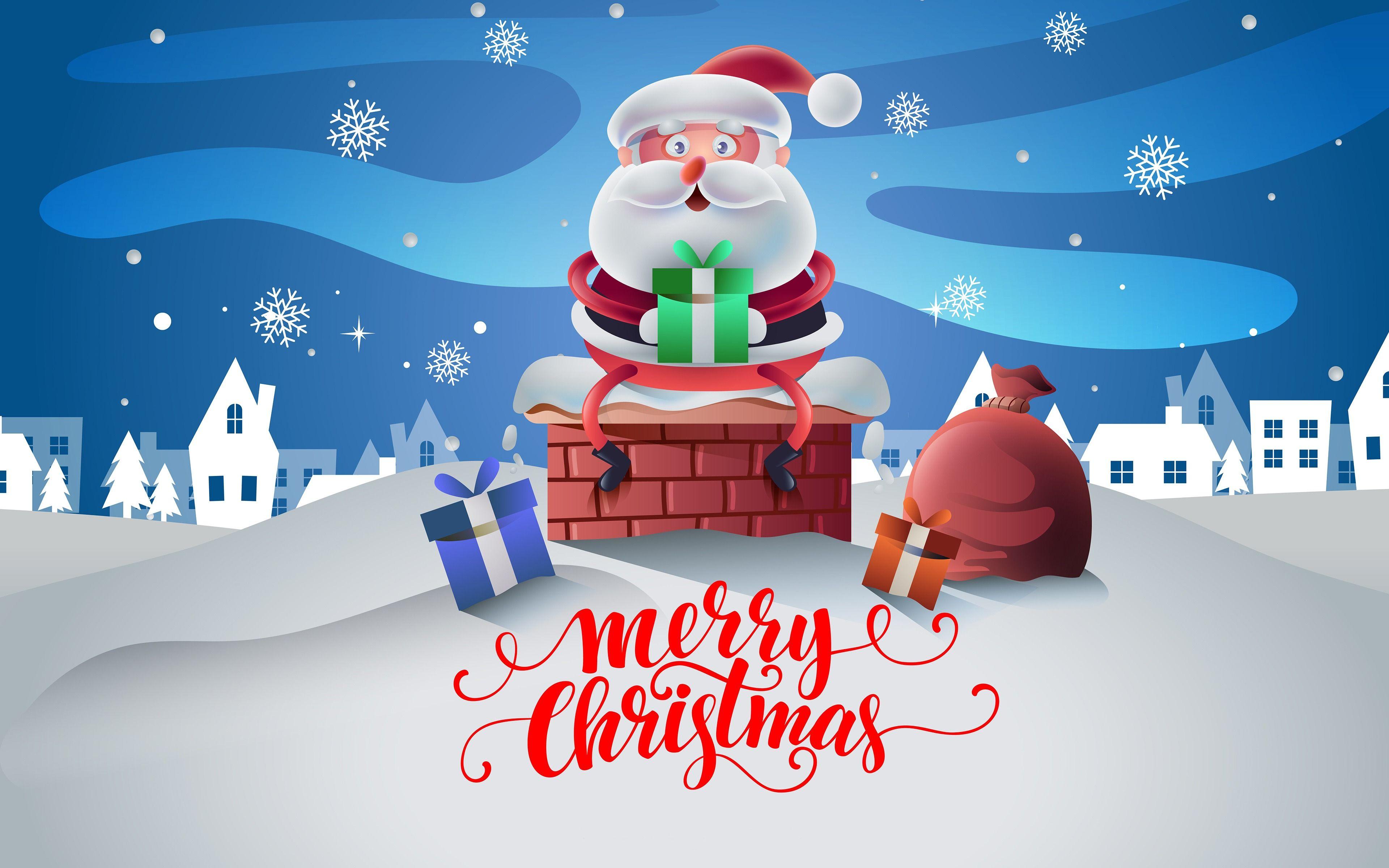Christmas Cartoon Design 4k Wallpaper 3840×2400 Merry