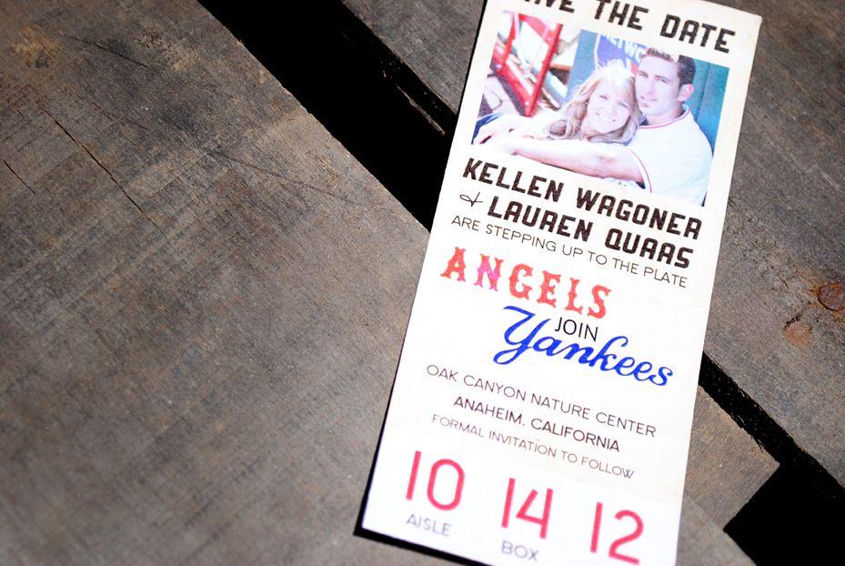 baseball ticket save the date lauren and kellen dream wedding