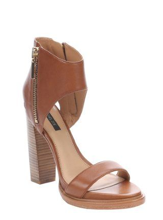 tan leather 'Jamie' open toe cutout sandals