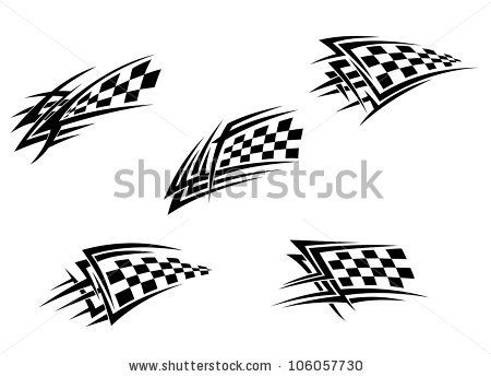 Stock Vector Racing Flags In Tribal Style For Tattoo Design Such Logo Jpeg