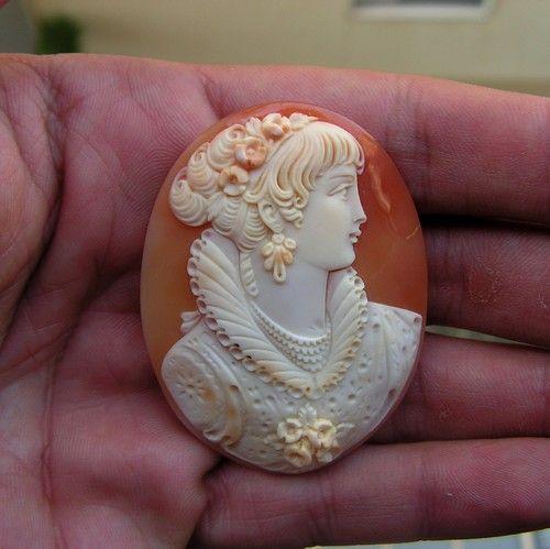 Cameo Genuine Cornelian Shell Hand Carved 50mm Superb Mary Stuart | eBay