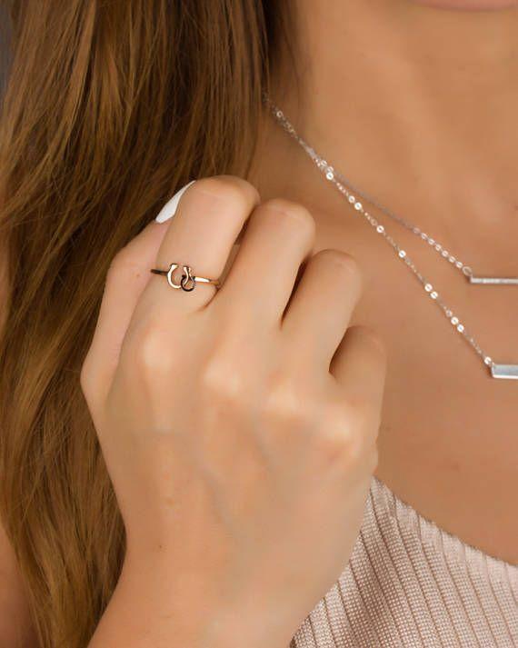 Horseshoe Ring Rose Gold Ring Pinky Ring Horseshoe