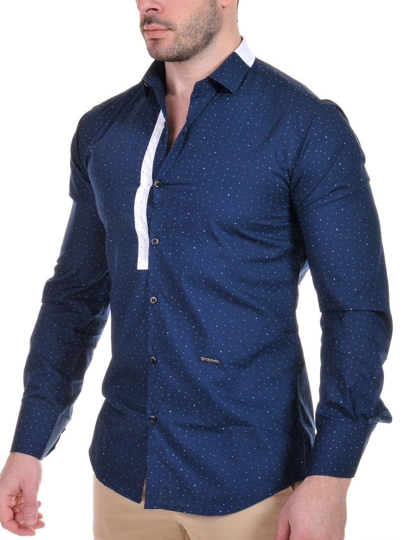 STEFAN Ανδρικό slim fit μπλέ πουά Italian Design πουκάμισο 425ddf0a125