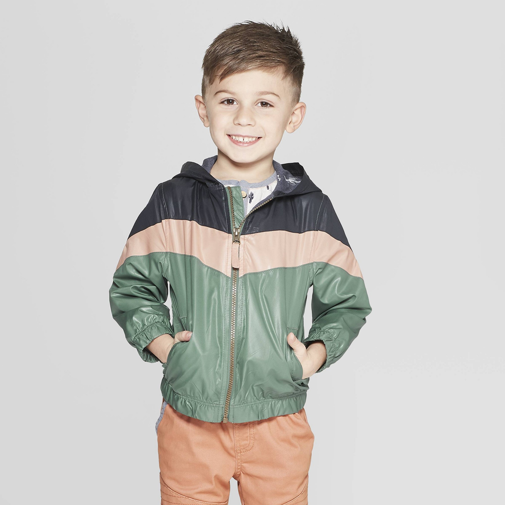 92432194 Genuine Kids from Oshkosh Toddler Boys' Color-block Windbreaker Jacket -  Green 12M