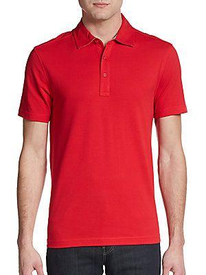 Saks Fifth Avenue BLACK Slim-Fit Cotton Pique Polo Shirt -