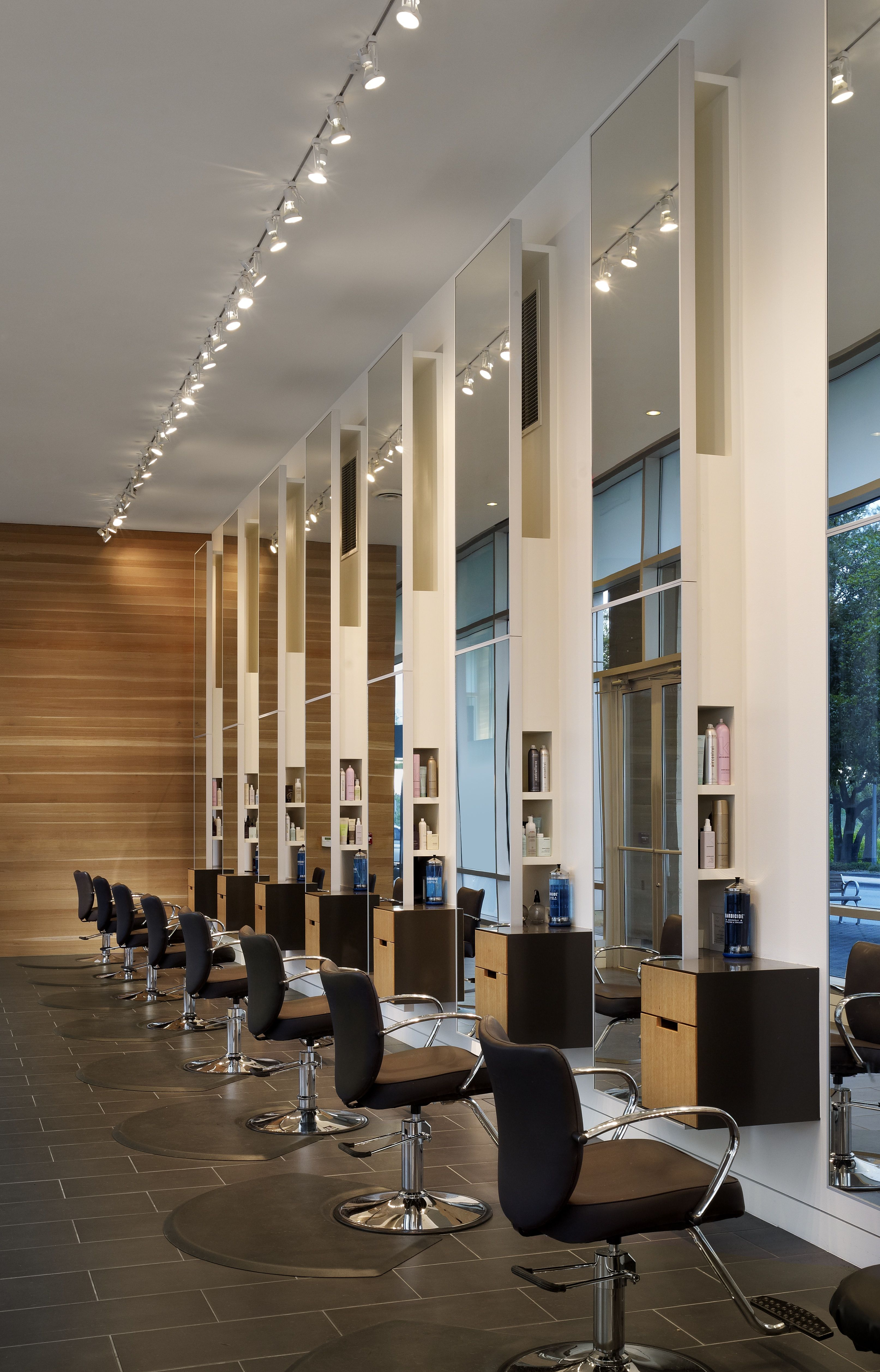 Row Of Salon Chairs In The Morning Light Barber