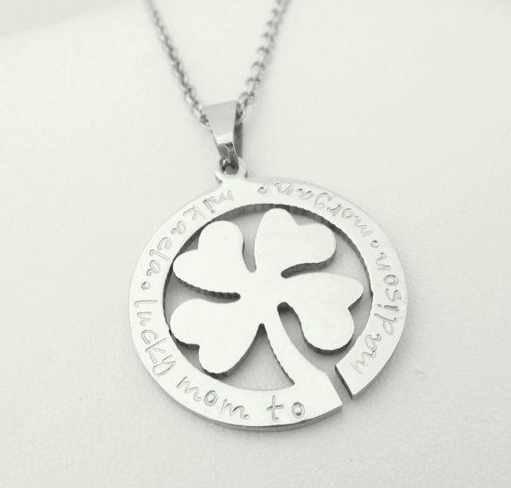 Hand stamped jewelry personalized jewelry silver clover shamrock personalizedsilverclovershamrocknecklaceby3sweetpeasjewelry3300 aloadofball Images