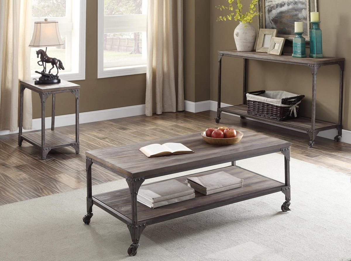 weathered oak and antique silver coffeeend table  luxury