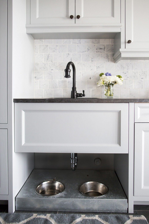 Dog bowls under mudroom sink-Lakeside Residence | Martha O\'Hara ...