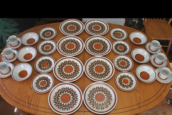 70s floral stoneware dinner plates  set of 5  made in England  Denby Westbury