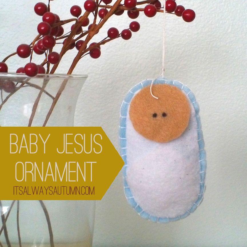 diy felt baby jesus ornament wood manger ornament. Black Bedroom Furniture Sets. Home Design Ideas