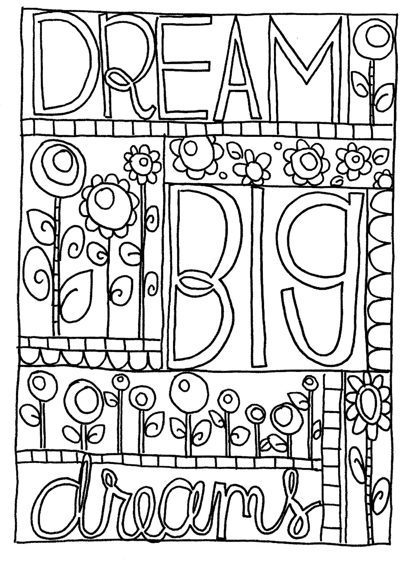 Dreambigdreams Jpg 1320 1808 Free Coloring Pages Free Doodles Coloring Pages