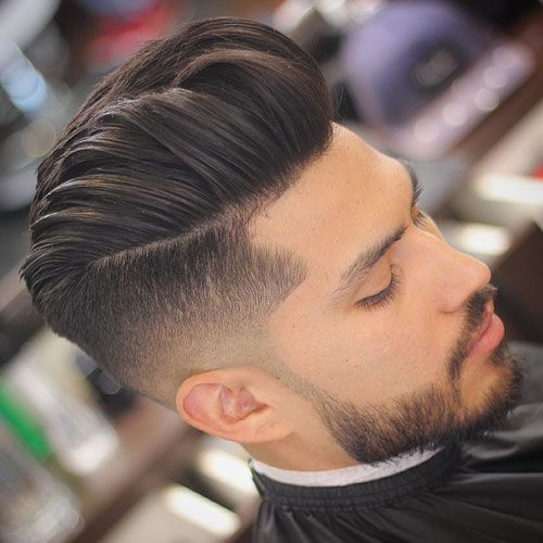 Medium Length Hairstyles For Men , Modern Pompadour + Undercut Fade + Beard