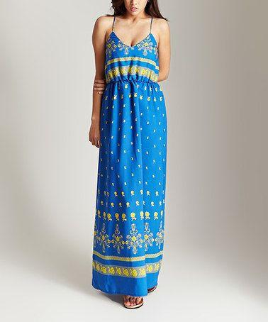 Love this Blue Floral V-Neck Maxi Dress on #zulily! #zulilyfinds