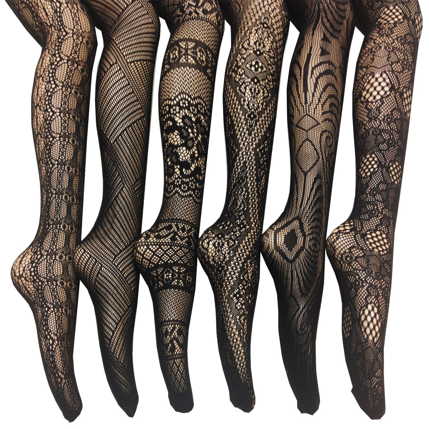 4a254420aca18 Women's Black Nylon/Spandex Fishnet Lace Stocking Tights (Pack of 6) (M/L =  5'4