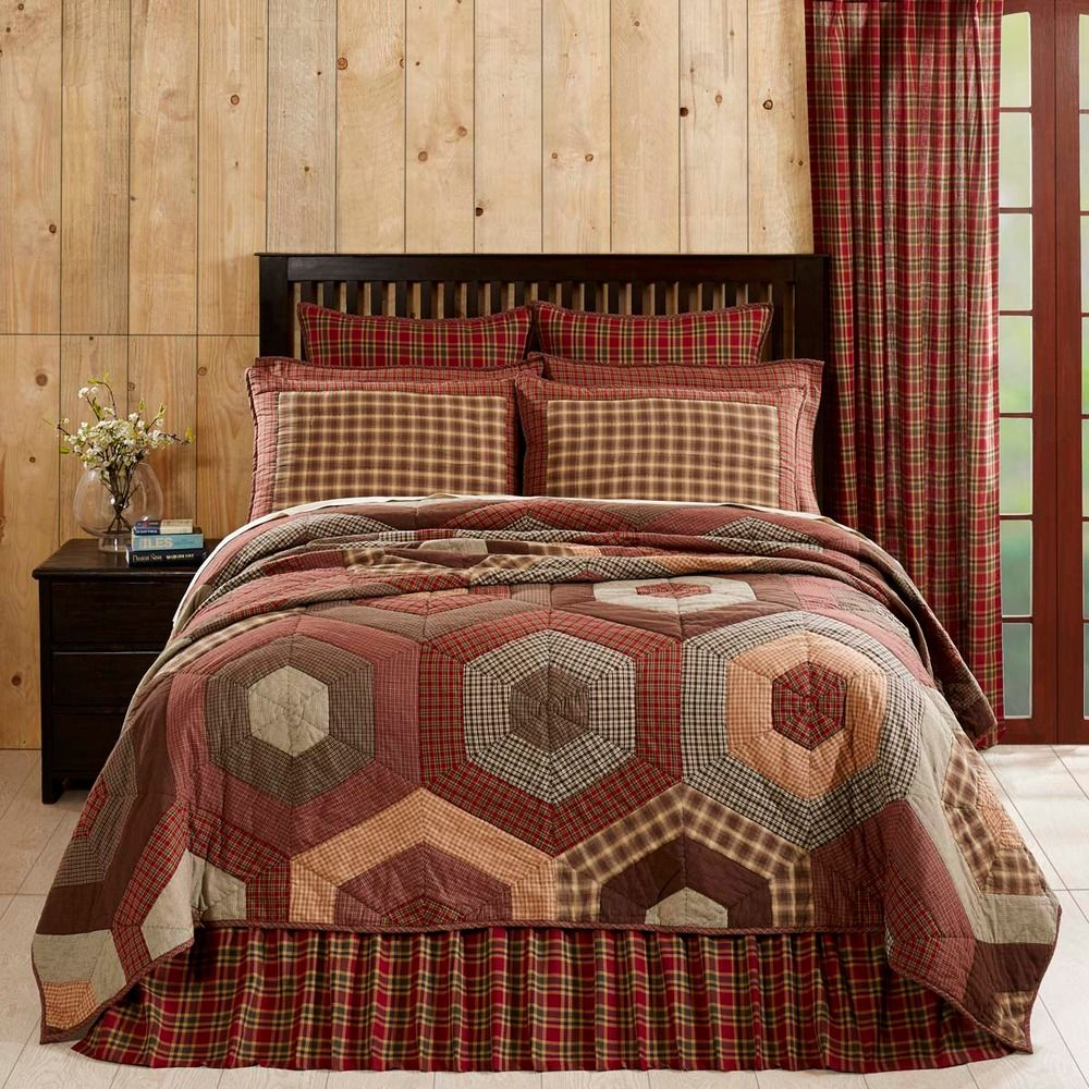Country Lodge Cabin Pieced Quilt Set Queen Size Honeycomb Pattern ... : queen size country quilts - Adamdwight.com