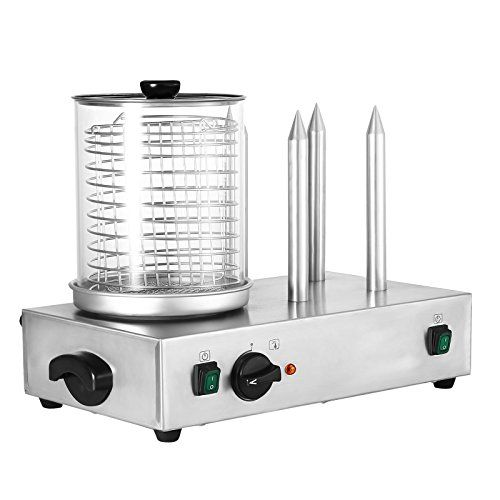 Happybuy Commercial Hot Dog Machine with 4 Bun Warmers 2 x 300W Electric Hot Dog Steamer Holds Up to 240mm Long Hot Dog Warmer Ideal for Snack Bars Rental Shops