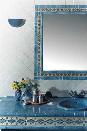 Rivestimenti bagno ceramica rettangolare interni vietri antico i 332 - Decori per bagno ...