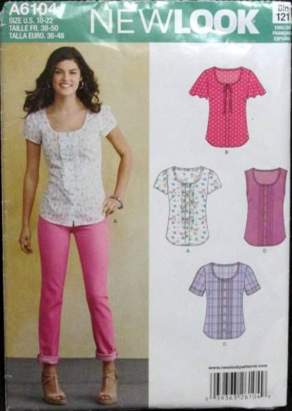 dfb15949702cdb New look 6395 size 10 22 misses tops blouses sewing pattern uncut ...