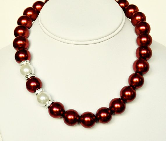 Unique Beaded Periwinkle Seashell Coloring Page: Red Pearl Necklace With White Handmade Beaded Jewelry With