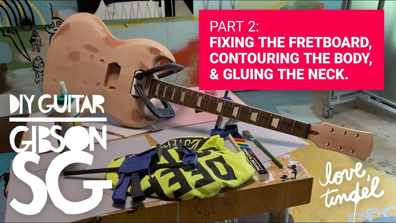 DIY Guitar Build PART 2: Fix The Frets, Contour The Body & Glue the Neck /// STAY CREATIVE