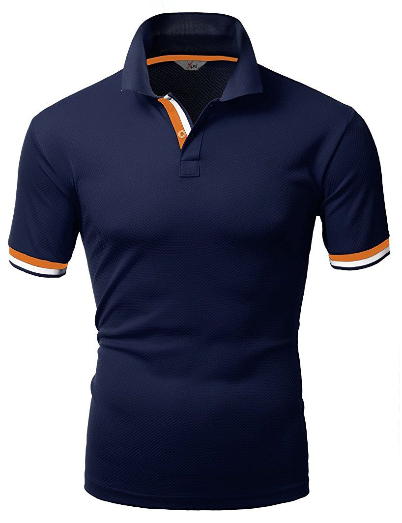 Amazon.com  Xpril Men s Color Effect Collar Short Sleeve Polo T Shirt   Clothing bd604ef524c8b