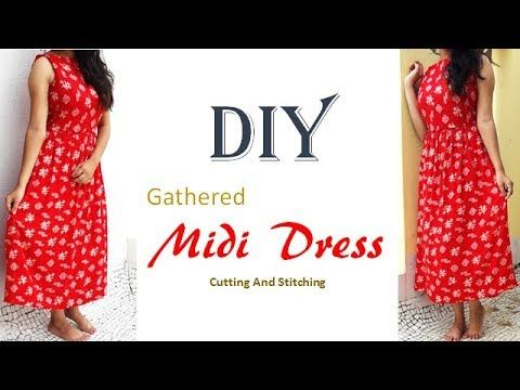55b11ee4950 DIY Elastic Waist Dress With Extended Sleeves Cutting And Stitching Tutorial  - YouTube