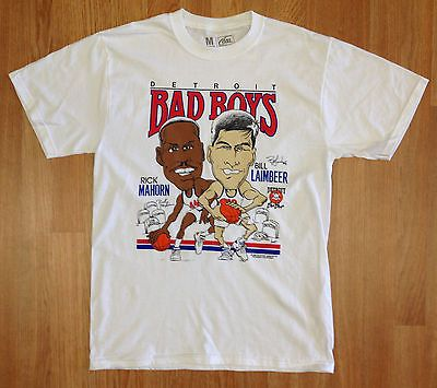 d50e6235db2f Detroit Pistons Bad Boys T-Shirt Laimbeer Rick Mahorn Retro Caricature Big  Head
